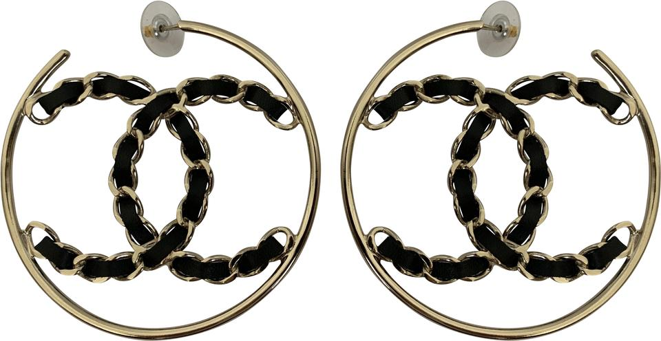 e3d563993769 Chanel Chanel XL CC Logo Black Chain Gold Tone Round Hoop Statement Earrings  Image 0 ...