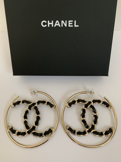 Chanel Chanel XL CC Logo Black Chain Gold Tone Round Hoop Statement Earrings