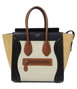 Céline Luggage Micro Micro Luggage Tricolor Tote in Multicolor Chalk Canvas with Beige