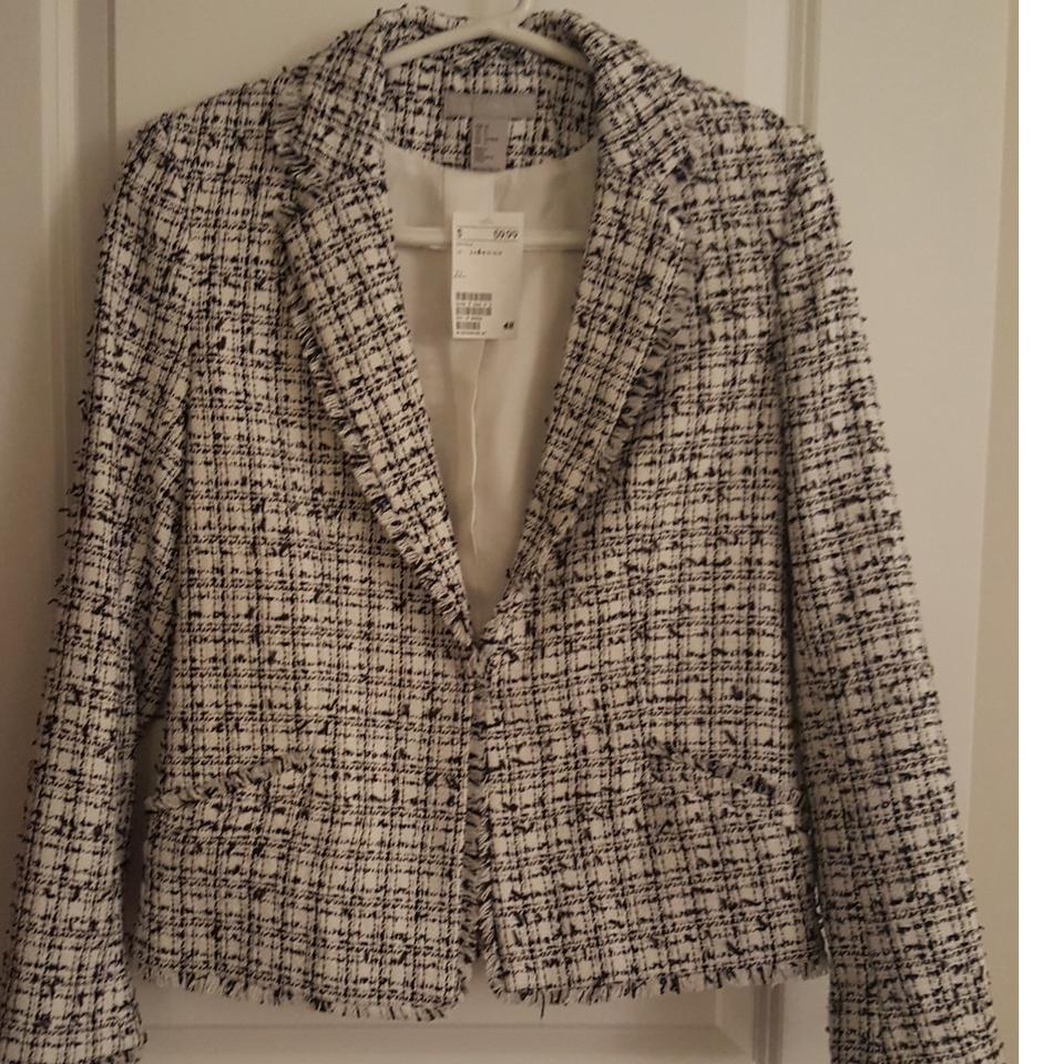 f081e38ea9af H&M Navy and White Chanel-inspired Frayed Edge Blue Blazer Size 6 (S ...