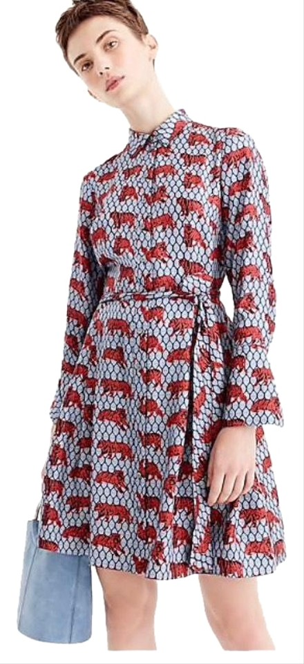 b225907f93e0f6 J.Crew Multicolor Collection Silk Shirtdress Roaming Tiger Print Mid ...