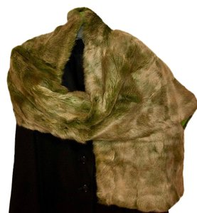 Quartier 206 Berlin Russian Squirrel Fur Scarf in Brown and Green