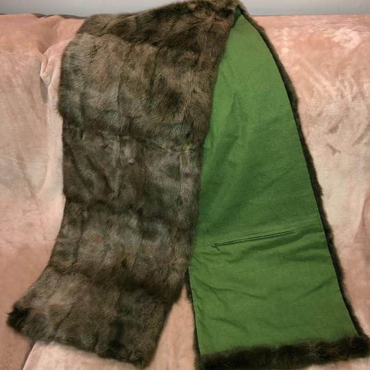 Quartier 206 Berlin Russian Squirrel Fur Scarf in Brown and Green Image 9