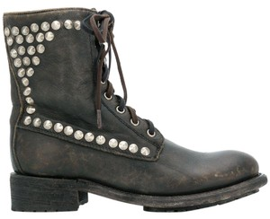 Ash Combat Studded Laceup brown Boots