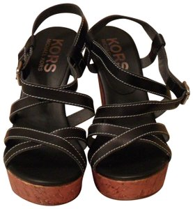 Michael Kors Collection Wedge Leather Black Sandals