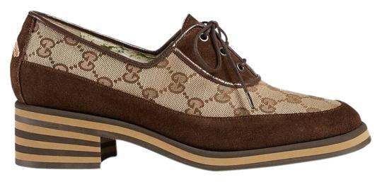 Preload https://img-static.tradesy.com/item/24781851/gucci-brown-beige-thomson-suede-canvas-mid-heel-gg-logo-bee-loafer-mule-pumps-size-eu-36-approx-us-6-0-1-540-540.jpg