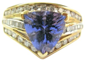 custom Natural Trillion Tanzanite & Multi Shape Diamond Yellow Gold Ring 3.34