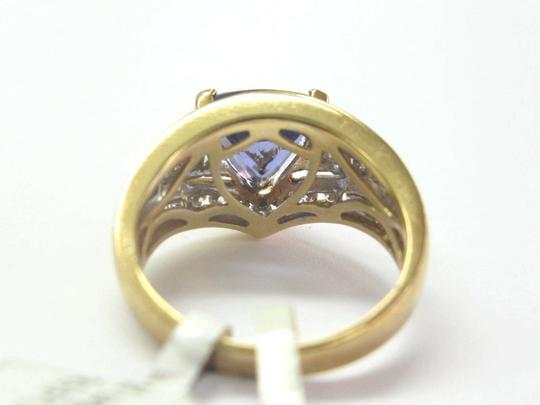 custom Natural Trillion Tanzanite & Multi Shape Diamond Yellow Gold Ring 3.34 Image 1