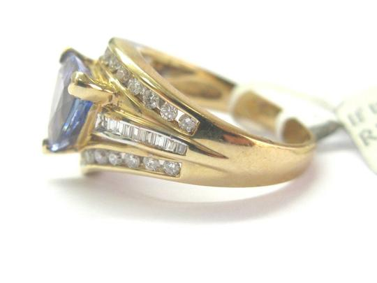 custom Natural Trillion Tanzanite & Multi Shape Diamond Yellow Gold Ring 3.34 Image 2