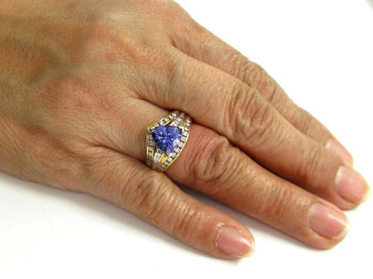 custom Natural Trillion Tanzanite & Multi Shape Diamond Yellow Gold Ring 3.34 Image 4