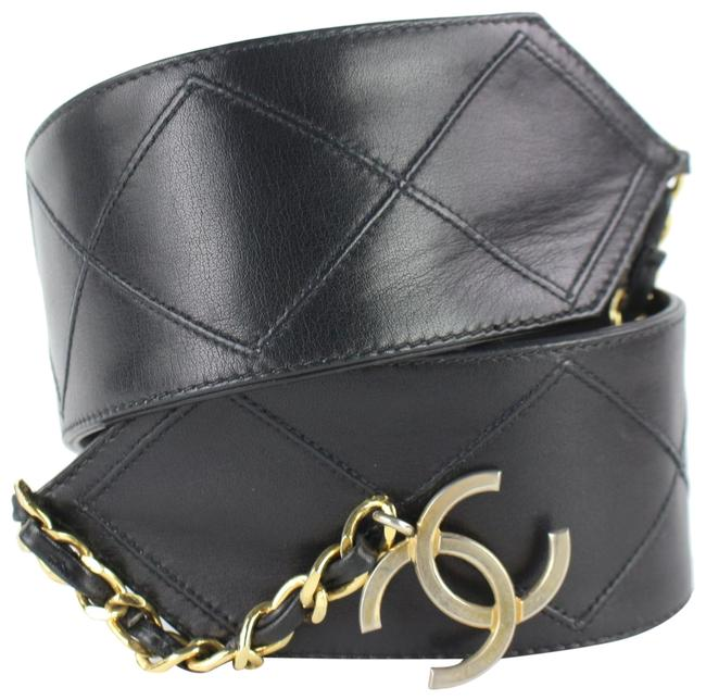 Chanel Black Quilted Lambskin Cc Chain Waist 5cz0130 Belt Chanel Black Quilted Lambskin Cc Chain Waist 5cz0130 Belt Image 1