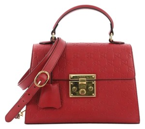 Gucci Padlock Leather Satchel in Red