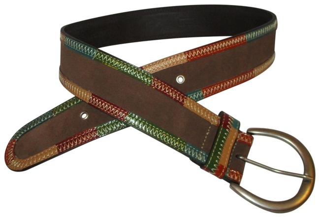Item - Brown Multi Wide Suede and Patent Leather Patchwork Belt