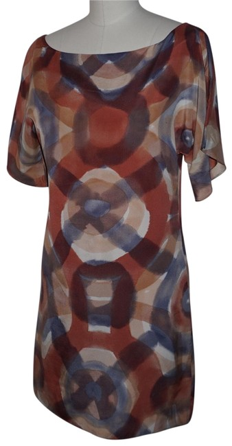 Item - Copper Beige Silk Abstract Shift Mid-length Work/Office Dress Size 2 (XS)