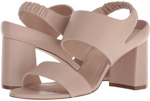 Stuart Weitzman Leather Block Heel Beige Nude Sandals