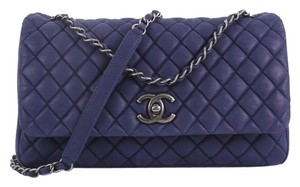 2bce241f0772 Chanel Classic Flap New Bubble Quilted Iridescent Calfskin Large Blue  Leather Shoulder Bag