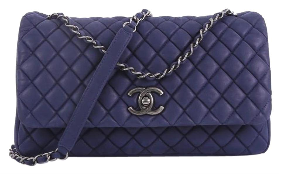 1930d43ba80ee0 Chanel Classic Flap New Bubble Quilted Iridescent Calfskin Large Blue  Leather Shoulder Bag