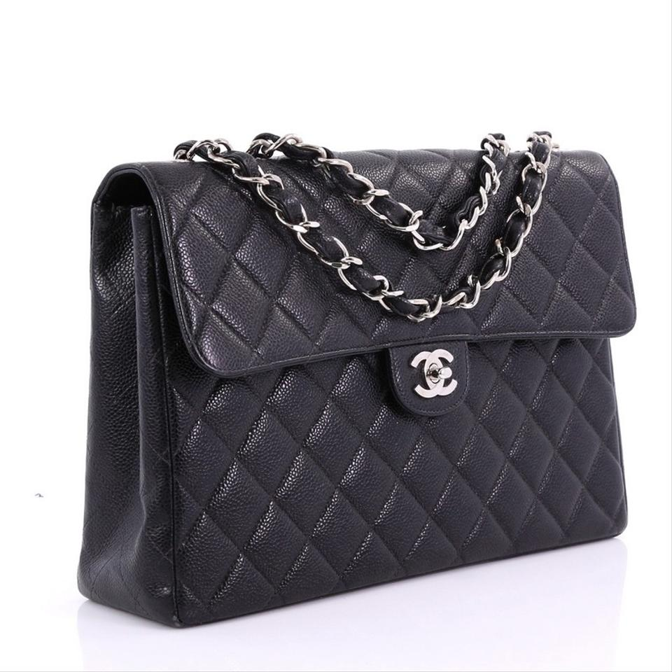 f46c4652eed7 Chanel Classic Flap Vintage Square Classic Single Quilted Caviar ...