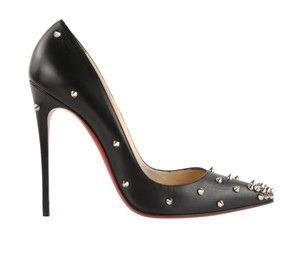 Christian Louboutin Leather Spike Stiletto Silver Hardware Black Pumps