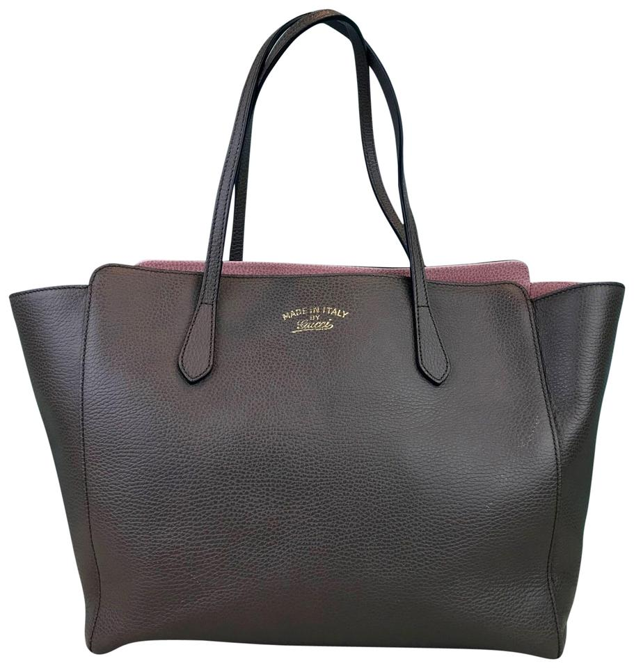 3ffcd2b12f67 Gucci Shopping Swing Mushroom Grained Sale Brown Leather Tote - Tradesy