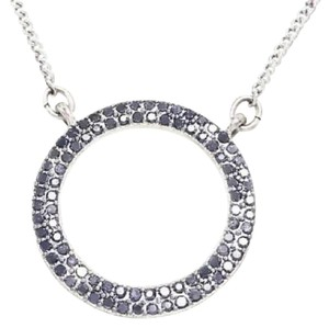 Lucky Brand Silver Tone Pave Open Circle Pendant Necklace