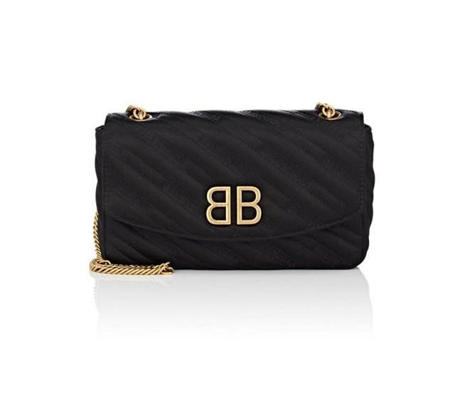 Item - Shoulder Women's Bb Round Quilted Jacquard - Black Satin Cross Body Bag