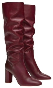 Zara Leather Slouchy Red Burgundy Boots