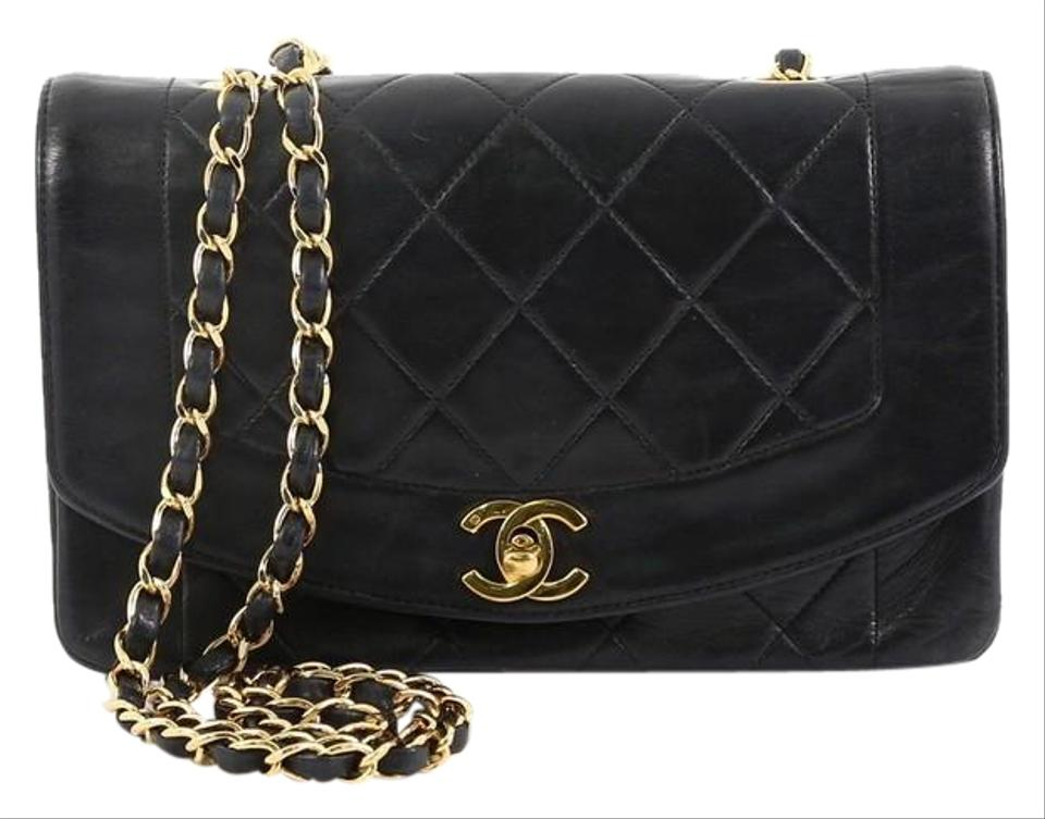 24a4b8df22f0 Chanel Classic Flap Diana Vintage Quilted Small Black Lambskin ...