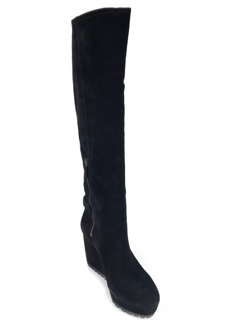 Item - Black Suede Leather Wedge Us10/10.5 Boots/Booties Size EU 41 (Approx. US 11) Regular (M, B)