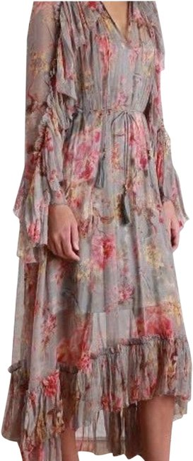 Item - Gray Rose Wine Yellow Mercer Floral Floating Mid-length Casual Maxi Dress Size 4 (S)