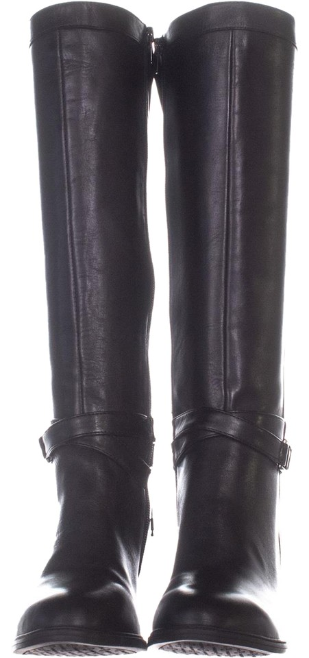 79e9b6decbb Anne Klein Black Azriel Wide Calf Wedge Knee High 160 Suede 6. Boots Booties