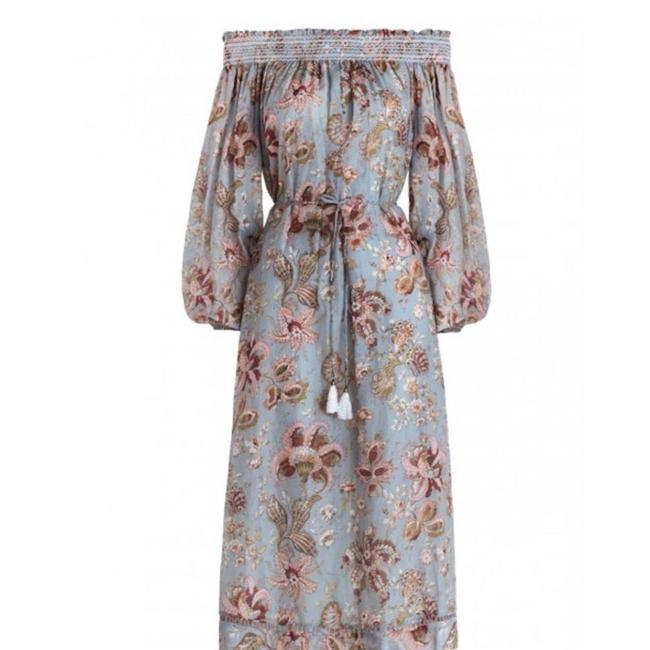 Item - Blue Gray Mauve Multi Pavilion Off The Shoulder Smock Mid-length Casual Maxi Dress Size 4 (S)