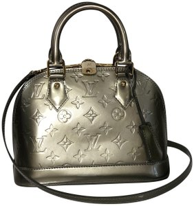 Louis Vuitton Alma Alma Bb Vernis Leather Top Handle Satchel in Silver 1eb1813481d8c