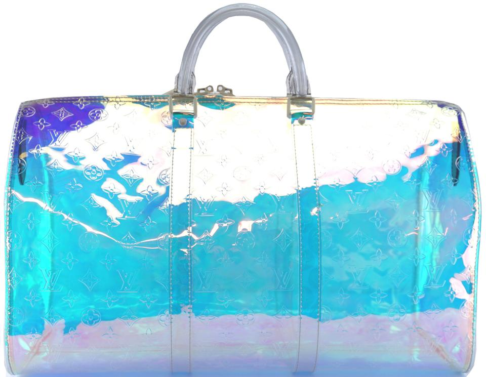 d5ffe86f392 Louis Vuitton Duffle Keepall Extremely Rare and Limited 2019 50 Bandouliere  with Strap Prism Monogram Iridescent Through Rainbow Virgil Abloh Runway ...