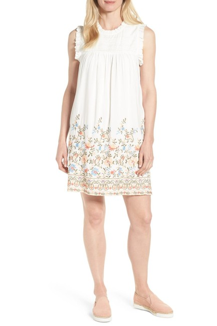 Item - White Pintuck Embroidered Short Casual Dress Size 8 (M)