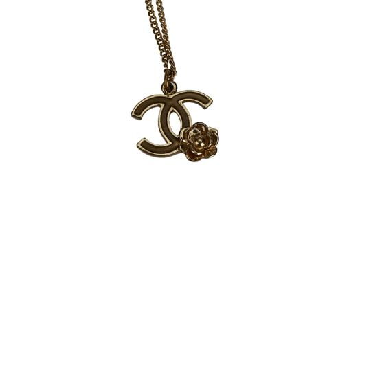 Chanel Chanel Gold CC and Camellia Pendant Necklace Metal France w/ Box Image 1