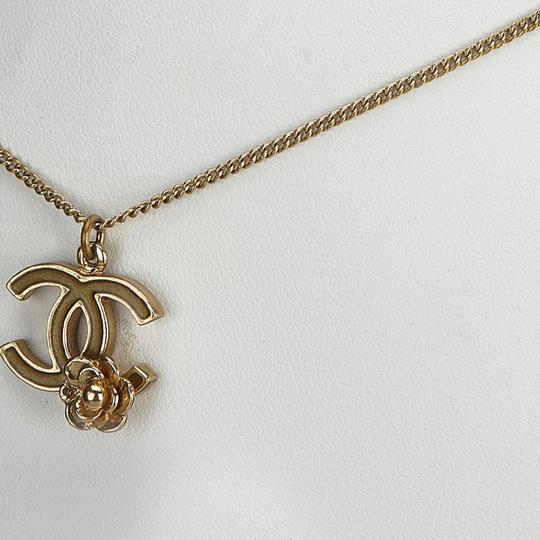 Chanel Chanel Gold CC and Camellia Pendant Necklace Metal France w/ Box Image 10