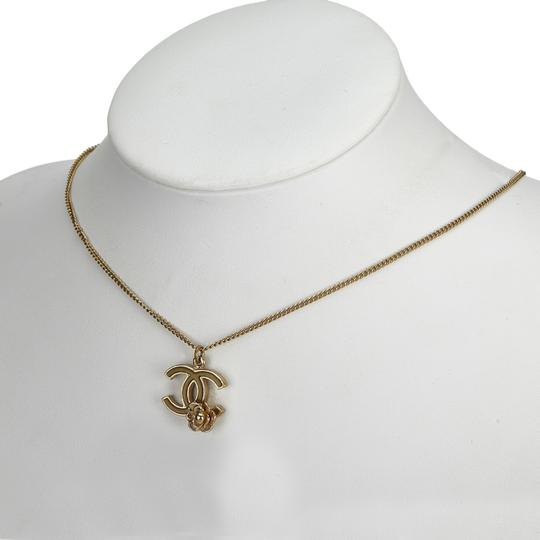 Chanel Chanel Gold CC and Camellia Pendant Necklace Metal France w/ Box Image 4