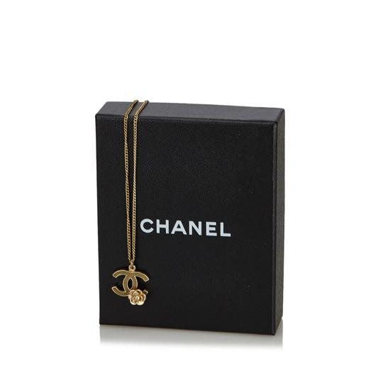 Chanel Chanel Gold CC and Camellia Pendant Necklace Metal France w/ Box Image 5