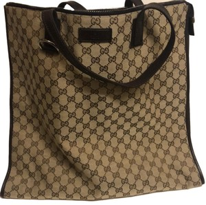 ed8f5d478 Gucci XL Monogram Brown Leather and Canvas Tote - Tradesy