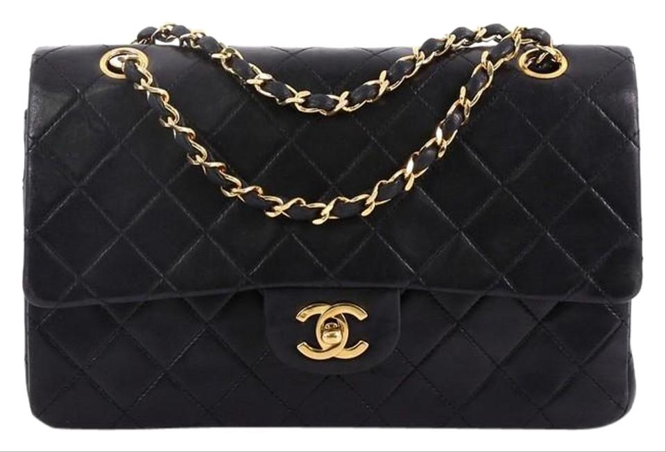 dc6fdb0e2f702 Chanel Classic Flap Vintage Classic Double Quilted Medium Black Lambskin  Leather Shoulder Bag