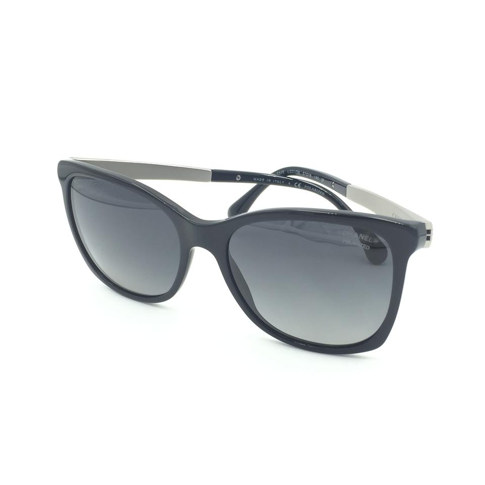 9d288f88bae Chanel Butterfly Black Silver Tweed Grey Polarized Sunglasses 5348 501 s8  Image 9. 12345678910