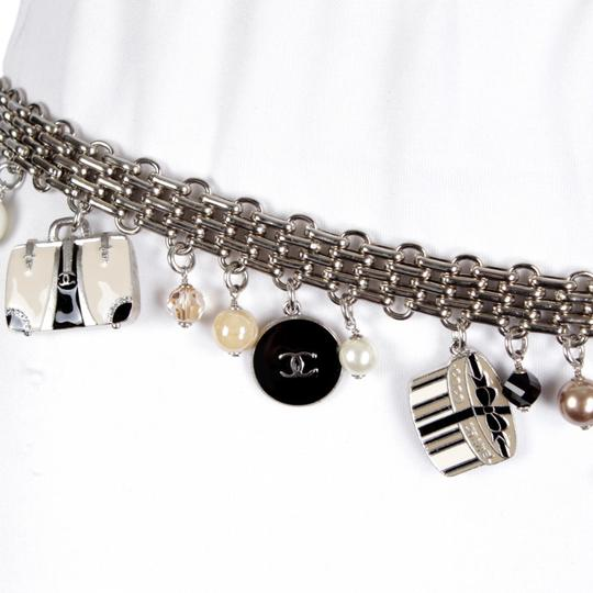 Chanel 07C Silver-Tone Chain-Link Enamel Trains, Luggage, & Pearl Charm Belt Image 3
