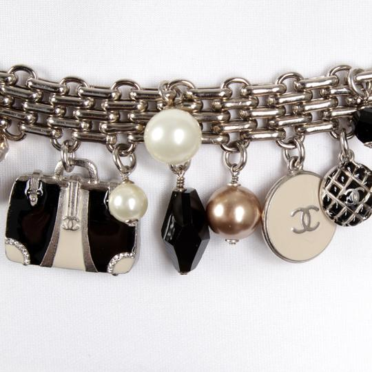 Chanel 07C Silver-Tone Chain-Link Enamel Trains, Luggage, & Pearl Charm Belt Image 6