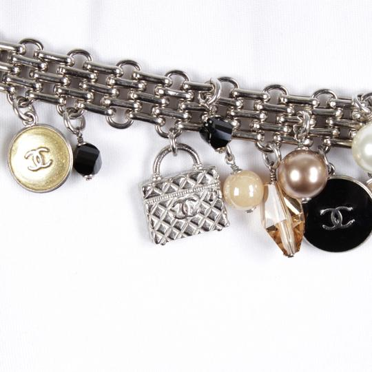Chanel 07C Silver-Tone Chain-Link Enamel Trains, Luggage, & Pearl Charm Belt Image 7