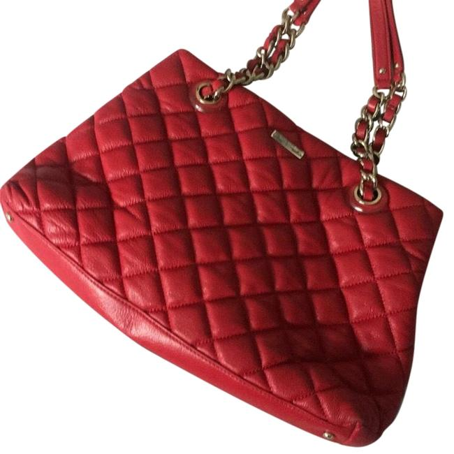 Item - Red Faux Leather Tote