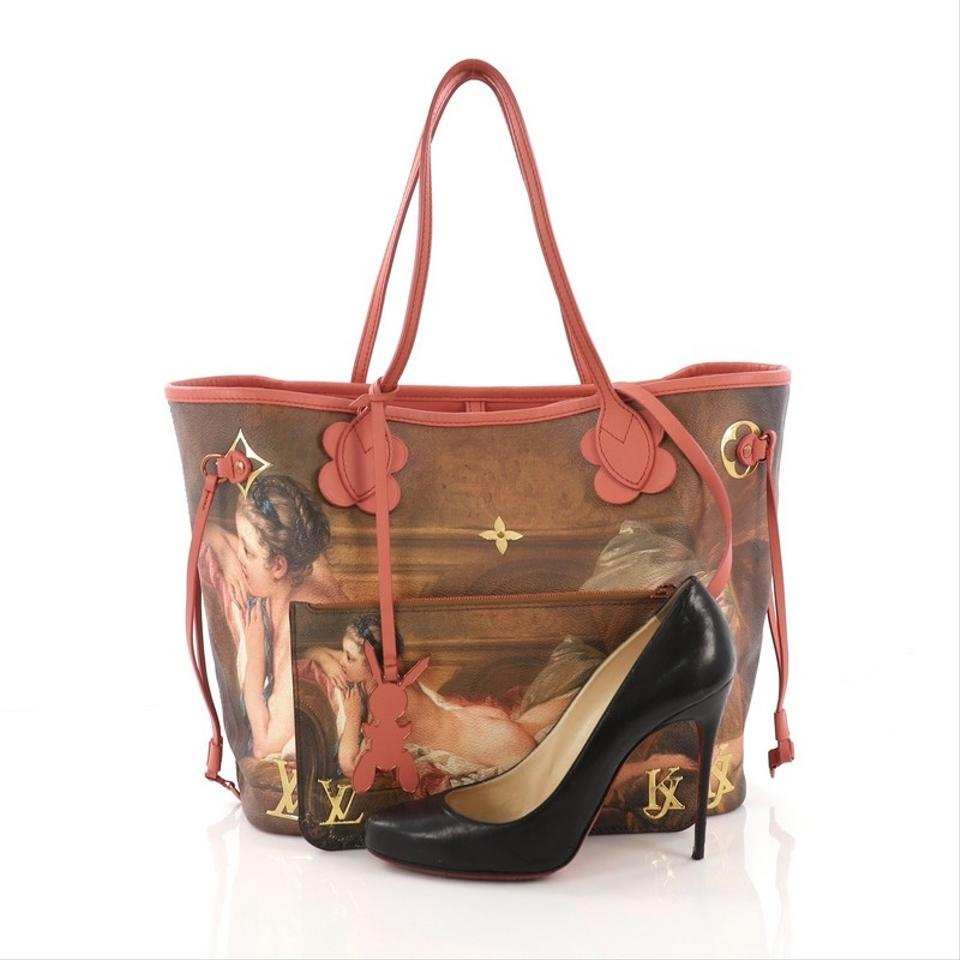 1fd8d2cf0864 Louis Vuitton Neverfull Nm Limited Edition Jeff Koons Boucher Print Mm  Brown Coated Canvas Tote - Tradesy
