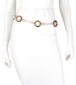 Dolce&Gabbana Leather & Silver Chain Belt w/ Tortoise Resin Hoops - SZ 36/90 M/L
