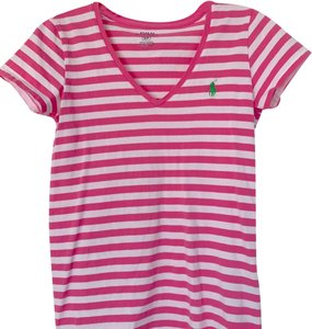 Polo Ralph Lauren Summer Preppy T Shirt Pink and White Stripe 462676023652