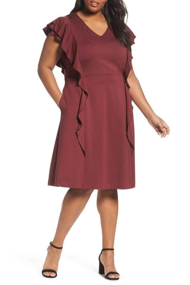 74681037fcd Sejour Ruffle Ponte Mid-length Work Office Dress Size 14 (L) - Tradesy